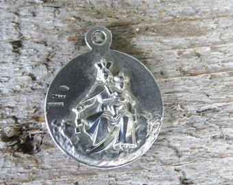 Sterling Holy Mother & Jesus Catholic Medallion  Made in Italy 2 Sided Diamond Cut Sterling Silver