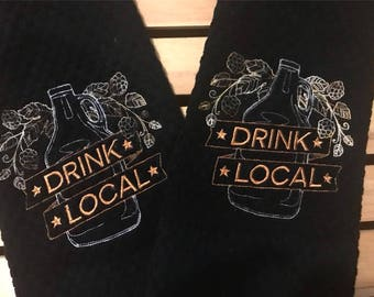 Drink Local Dish towel