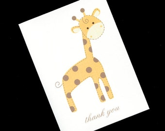 20 Baby Shower Thank You Cards - Baby Cards - Baby Thank You Cards - Gender Neutral Thank You Cards - Jungle Baby Shower - Gold Giraffe