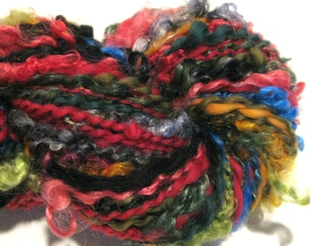 Handspun Yarn Random Acts of Fiber 170 yards rainbow black handdyed merino wool mohair locks art yarn spiral plied knitting supplies crochet
