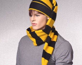 Striped Long Stocking Cap Black Gold Long Scarf Hat 5 ft Super Long Coil School Color Hat Cheer Team Spirit Unisex Adult Men Women