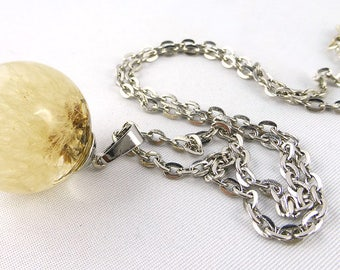 Necklace, Resin, Dandelion, Wish Necklace,