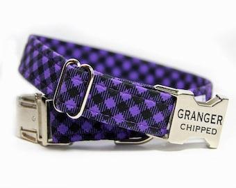 Personalized purple Dog Collar, Plaid dog collar, Purple and black tartan