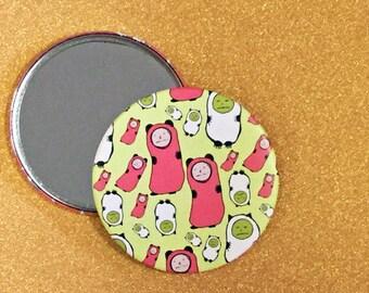 3.5 Inch Pocket Mirror - Tiny Saddies Mirror, Tiny Sad Figures, Hand Mirror, Pocket Mirror, Compact Mirror, Purse Mirror, Round Mirror
