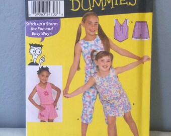 Simplicity Sewing for Dummies Sewing Pattern 9607 Children's Girls Top Capris Shorts Size HH 3 4 5 6