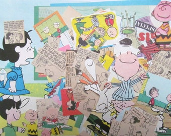 Peanuts craft pack: 100 vintage paper pieces featuring Snoopy, Charlie Brown . Paper for scrapbooks, journals, card making, children EP679