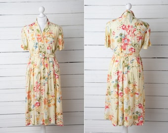 1970s Vintage Pale Yellow Floral Midi Short Sleeve Dress by Mandy Marsh / UK Size 10 / Summer Women Gown