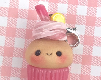 Pink lemonade kawaii cupcake charm, polymer clay charms, kawaii charms, zipper charms