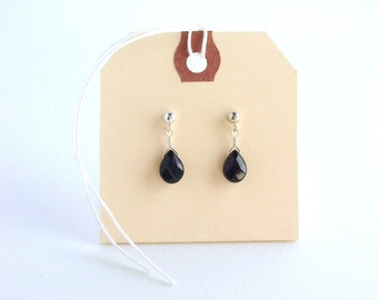 Dark Blue Goldstone Teardrop Post Earrings / Simple Teardrop Earrings / Genuine Stones / Sterling Silver Posts / Simple Earrings / Dark Blue