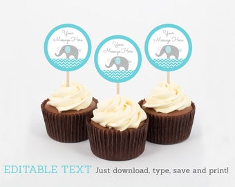 Elephant Cupcake Toppers / Elephant Baby Shower / Chevron Pattern / Blue & Grey / Cupcake Decoration / INSTANT DOWNLOAD Editable PDF A200