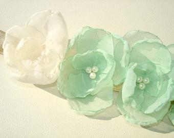 Mint Wedding Sash, Pearl Bridal Sash, Ivory Wedding Dress Sashes  Belts Flower Girl  Bridesmaid Sash , Pink, Lilac, Yellow, White