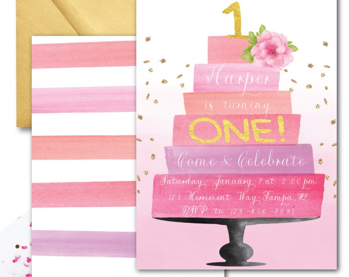 Pink and Gold First Birthday Invitation // One // Pink Cake Invitation // Watercolor // Glitter // Blush // Flowers // HAMPTONS COLLECTION