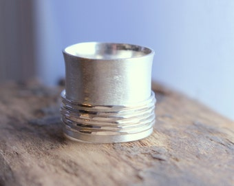 Statement Spinner Ring - Sterling silver Fiddle Ring - Wide Band Ring - Gift - Mothers Day Jewelry