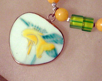 Yellow Daffodil Pendant Necklace- Antique Hand Painted Pottery Set in Silver- Yellow and Green-Jade, Pearls, Art Glass - Handmade
