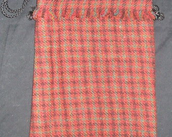 Harris Tweed Handbag Red, Green, Yellow Brown with Red Cotton Lining