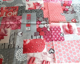 Laminated cotton fabric 50 x 70 cm pink and gray
