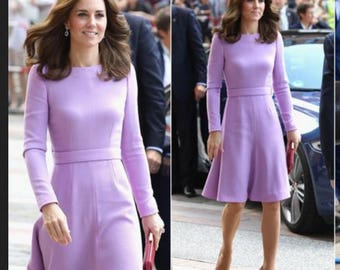 kate middleton royal purple dress swing rockabilly celeb inspired coat dress custom made