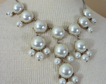 Lovely Vintage Faux Pearl Statement Necklace With White Faux Mabe Pearl Dangle Drops Classy Retro Costume Jewelry 16 Inch