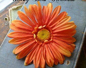 Orange Daisy - Single or Duo - Vegan Friendly - ATS or Tribal Fusion Belly Dance Hair Art Fascinator Clip Set