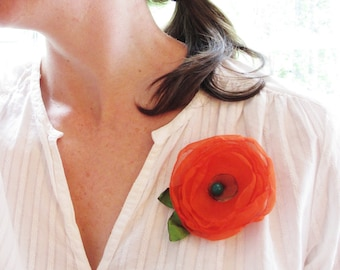 Vivid Orange Flower with Leaves - Hair Clip AND Pin - Free Shipping in US