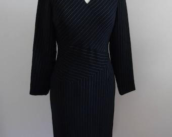 Vintage 1990s LBD, Long Sleeve Little Black Dress with Fabric Blocked White Pinstripes by Spenser Jeremy; Career Secretary's Dress
