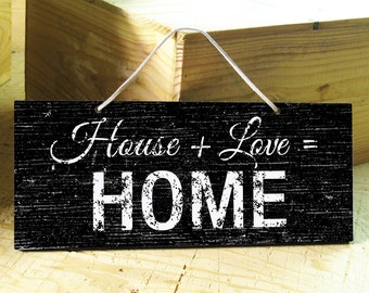 Wall Sign with Home & Love Saying. Modern Sign. Rustic Signs. Love Sign. Rustic Home Decpr. Housewarming Gift. Mom Gift. Ready to Ship