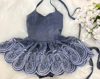 Baby vintage dress girls embroidery dress chambray embroidery dress baby girl ooak vintage dress girls cris cross dress photo shoot dresses