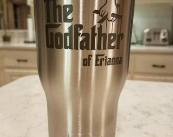 Etched Godfather Your choice of Single Glass  for the Godfather, Baptism, Christening, Godparent Gift - by Jackglass on Etsy