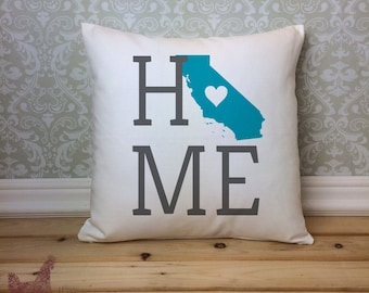 California Pillow, California State Pillow, California Home Pillow, Housewarming Gift, Square Pillow, California Home decor,California decor