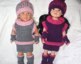 Winter Outfit for 18 inch Doll pdf PATTERNS (digital download), sweater, skirt, fingerless gloves, boots, hat, crochet