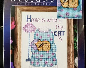 Home is Where the Cat Is counted cross stitch kit