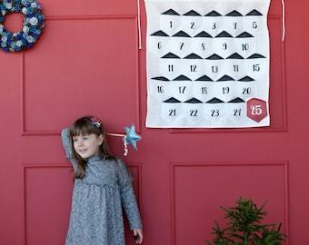 Hanging geometric Advent calendar, linen Advent calendar, Christmas calendar, kids calendar, pocket Advent calendar set, Christmas countdown