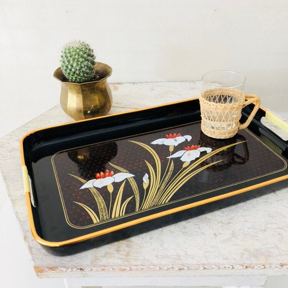Vintage Black Lacquer Tray Large Floral Serving Tray with Handles Gold Rim Bohemian White Red Flower Platter Boho Decor Made in Japan