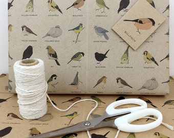 garden birds gift wrap set (100% recycled)