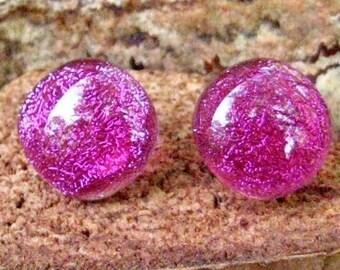 Dichroitische Ohrringe, geschmolzenem Glas, Glas-Taste Ohrringe rosa, rosa Beitrag Ohrringe, rosa Glasohrringe