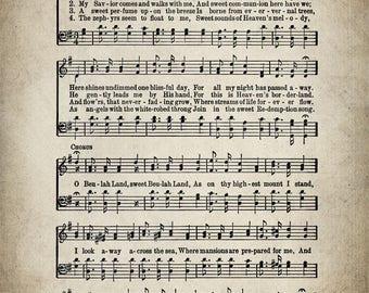 O Beulah Land Hymn Print - Sheet Music Art - Hymn Art - Hymnal Sheet - Home Decor - Music Sheet - Print - #HYMN-P-036