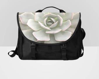 Black and White Flower Laptop Messenger Bag Distressed
