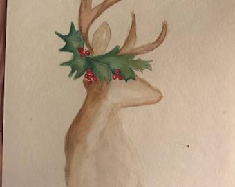 Merry Christmas, Deer watercolor painting