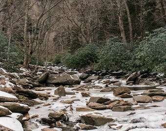 Smoky Mountains Print, Frozen River, Mountain Photography, North Carolina Prints, Spooky Forest, Forest Photography, Smokey Mountain Decor