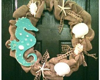 Seahorse Wall Decor, Seahorse Wall Art, Beach Wreath, Beach Decor, Beach House Decor, Nautical Wreath, Nautical Decor, Sea Shell Wreath