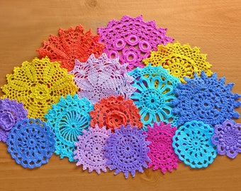 Colorful Crochet Doilies, 16 Hand Dyed Vintage Doilies, 2 to 5 inches, Crochet Mandalas, Doilies for Crafts, Decor, Dream Catchers and More
