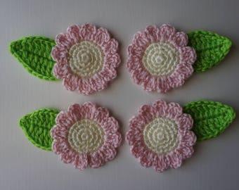Handmade Crochet Flower Appliques Embellishments.