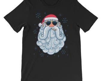 Santa Cool T-Shirt. shirt, tshirt, tee, gift, christmas, santa claus, head, cartoon, beard, sunglasses, funny, character, portrait, holiday,