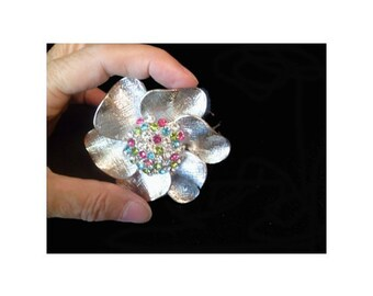 Bangle FLOWER BRACELET * Silver Tone Metal With Multicolor Rhinestones