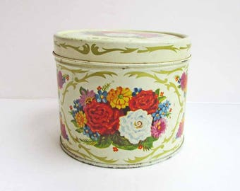 Vintage 1950's Golden Corsage Body Powder Advertising Tin with Floral Design, Lander Co, Fifth Ave., Bath Decor, Vintage Tin Container