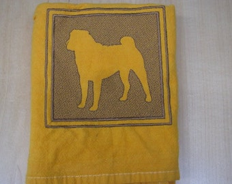 Dog Embossed Square Towel - DISCOUNTED FOR FLAW