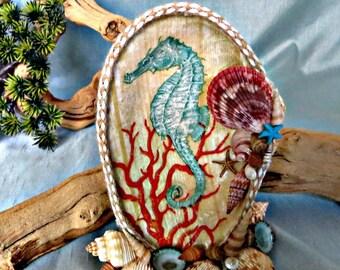 Sea horse decoupage table top decor_beach home decor_mothers day gift