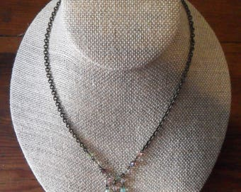 Delicate Vintage 80's POGGI Paris NECKLACE, Transparent Pastel Beads & Antique Bronze Tone Metal Chain