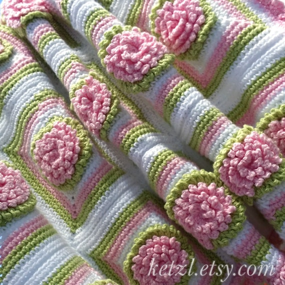 Crochet Pattern Baby Blanket Afghan Bunny Rug Crochet Flowers