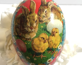 Rare Antique Papier Mache Easter Egg Candy Container Germany